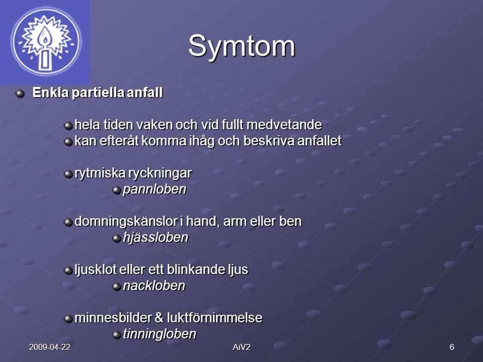 62009-04-22AiV2 Symtom Enkla partiella anfall hela tiden vaken och vid fullt medvetande kan efteråt komma ihåg och beskriva anfallet rytmiska ryckning