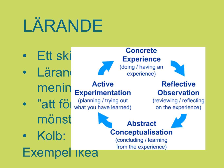 """LÄRANDE Ett skifte har skett Lärande = meningsskapande """"att förstå är att se ett mönster"""" Kolb: Exempel ikea"""