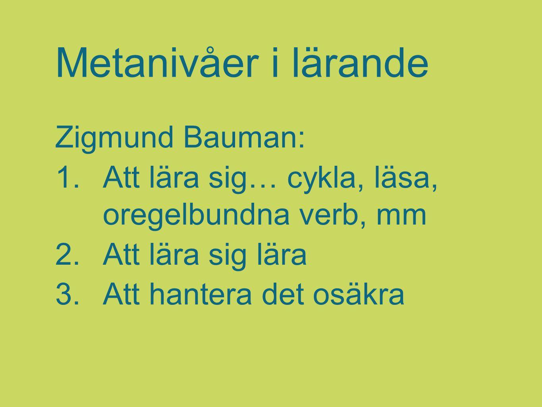 Metanivåer i lärande Zigmund Bauman: 1.Att lära sig… cykla, läsa, oregelbundna verb, mm 2.Att lära sig lära 3.Att hantera det osäkra