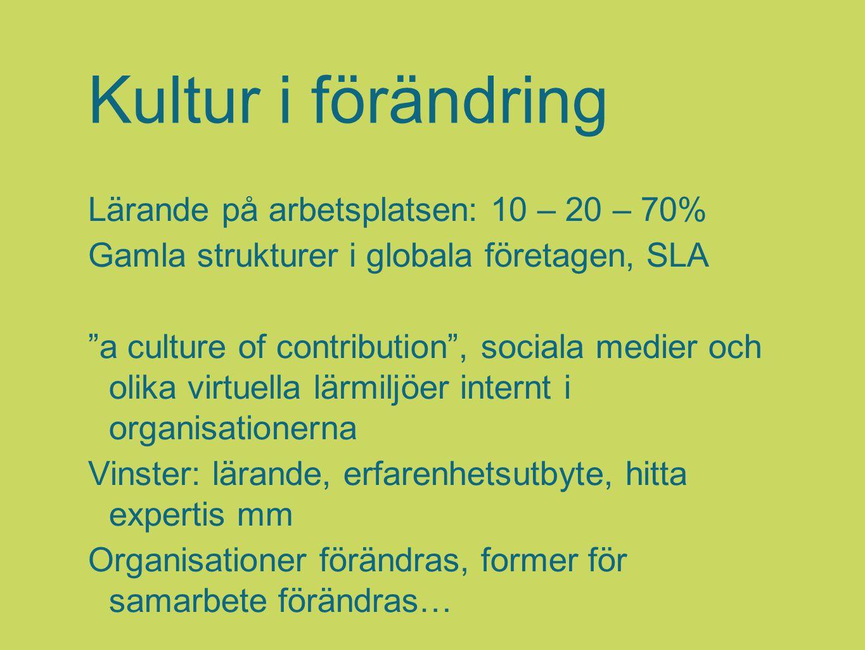 """Kultur i förändring Lärande på arbetsplatsen: 10 – 20 – 70% Gamla strukturer i globala företagen, SLA """"a culture of contribution"""", sociala medier och"""