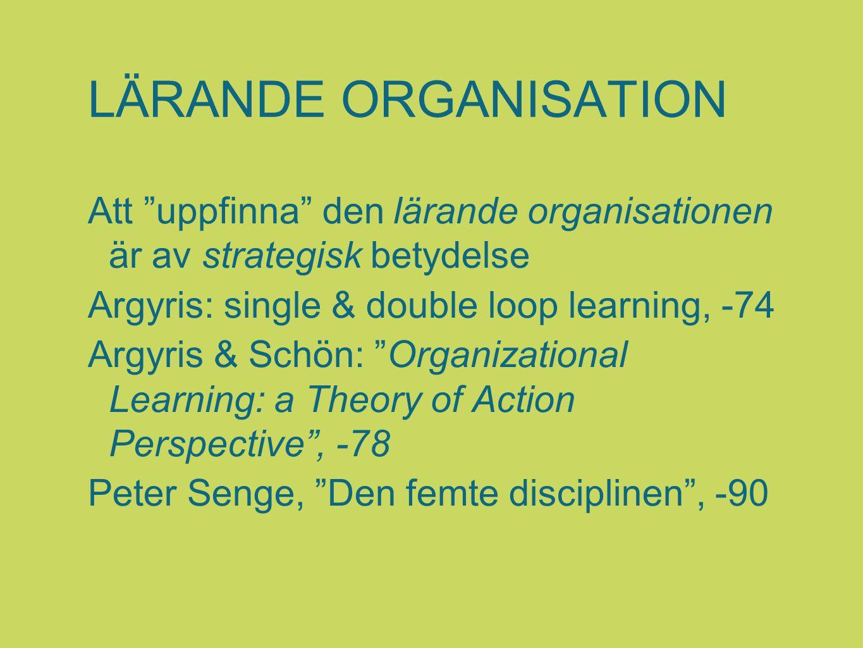 """LÄRANDE ORGANISATION Att """"uppfinna"""" den lärande organisationen är av strategisk betydelse Argyris: single & double loop learning, -74 Argyris & Schön:"""