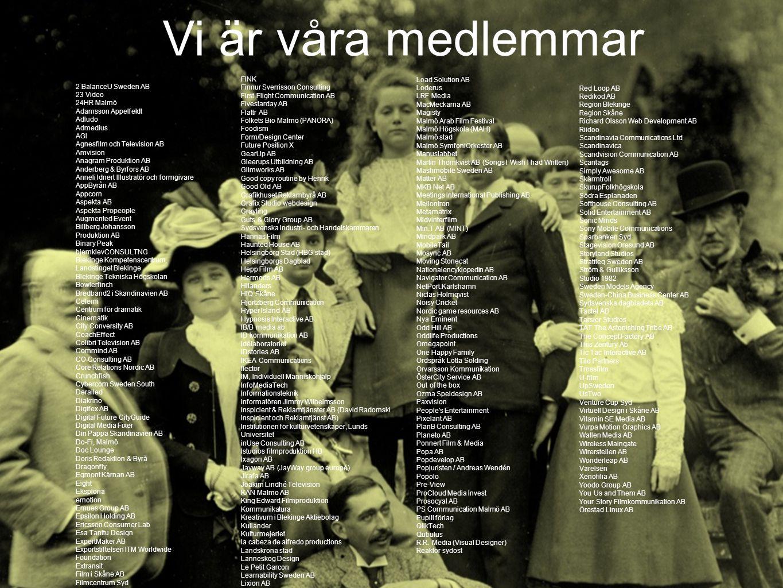 Vi är våra medlemmar 2 BalanceU Sweden AB 23 Video 24HR Malmö Adamsson Appelfeldt Adludo Admedius AGI Agnesfilm och Television AB Amvision Anagram Pro