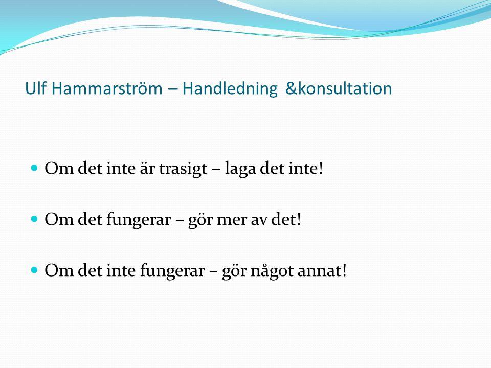 Ulf Hammarström – Handledning &konsultation Om det inte är trasigt – laga det inte.