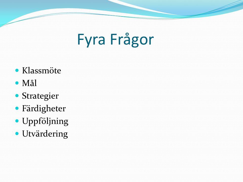 Fyra Frågor Klassmöte Mål Strategier Färdigheter Uppföljning Utvärdering
