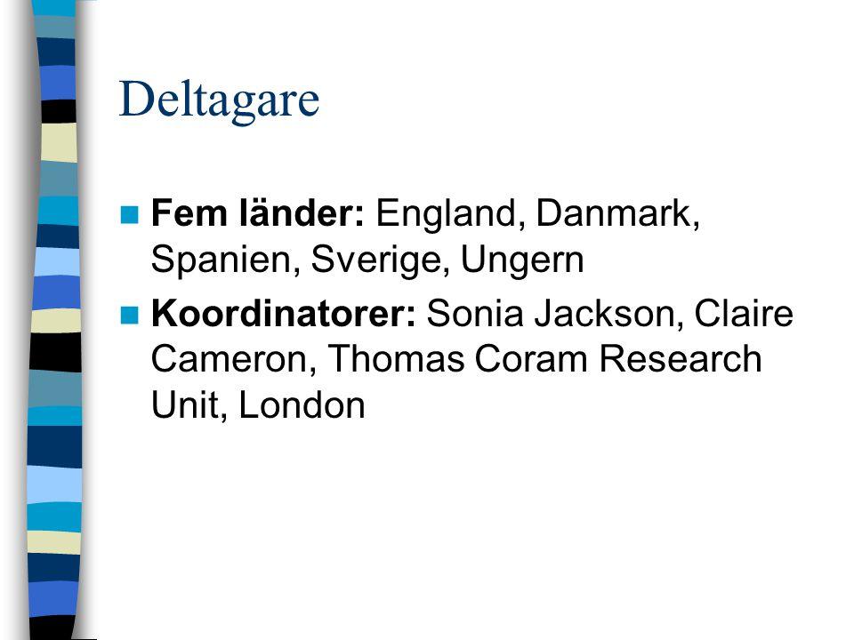 Deltagare Fem länder: England, Danmark, Spanien, Sverige, Ungern Koordinatorer: Sonia Jackson, Claire Cameron, Thomas Coram Research Unit, London