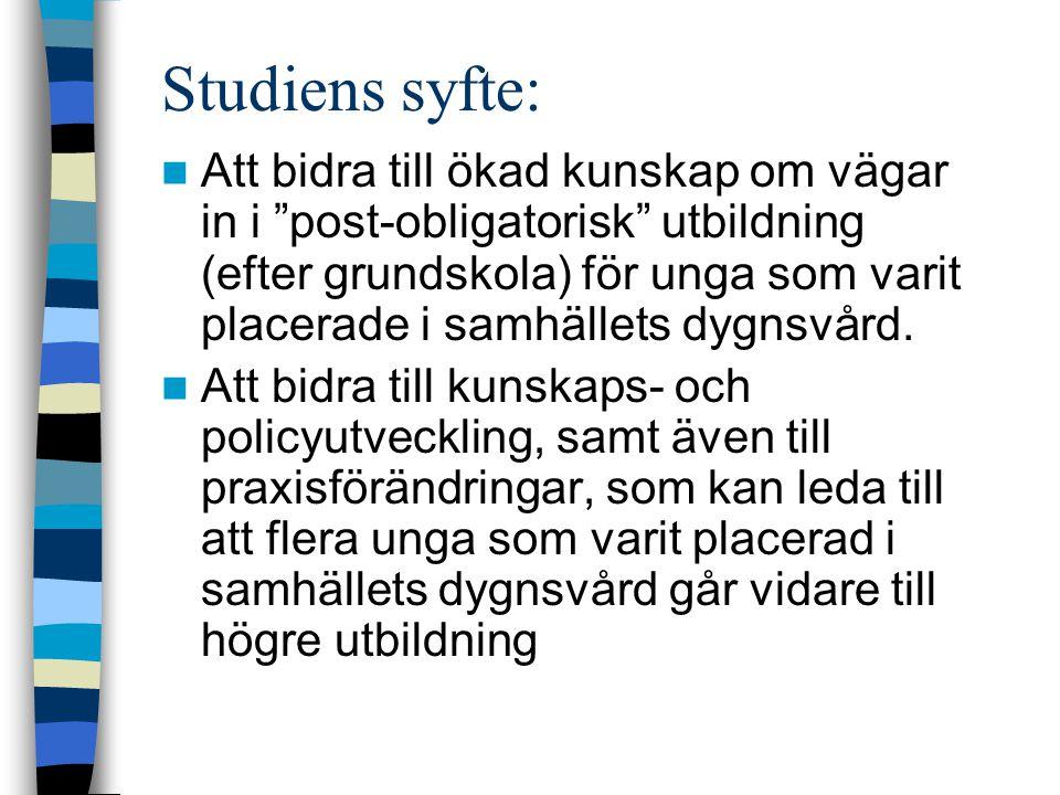 Studiens syfte: Att bidra till ökad kunskap om vägar in i post-obligatorisk utbildning (efter grundskola) för unga som varit placerade i samhällets dygnsvård.