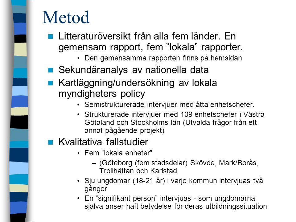 """Metod Litteraturöversikt från alla fem länder. En gemensam rapport, fem """"lokala"""" rapporter. Den gemensamma rapporten finns på hemsidan Sekundäranalys"""