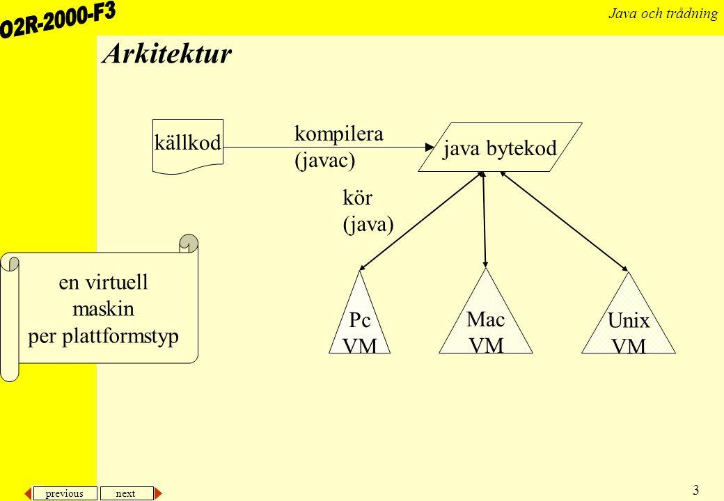 previous next 14 Java och trådning Klasser En klass och dess metoder skrivs i en enda fil med samma namn som klassen En fil kan innehålla både klass som används av andra klasser och hjälpklasser, s.k.