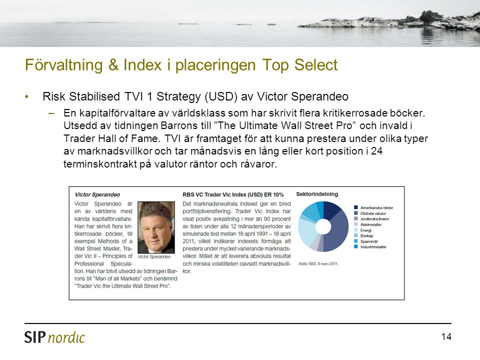 14 Förvaltning & Index i placeringen Top Select Risk Stabilised TVI 1 Strategy (USD) av Victor Sperandeo –En kapitalförvaltare av världsklass som har