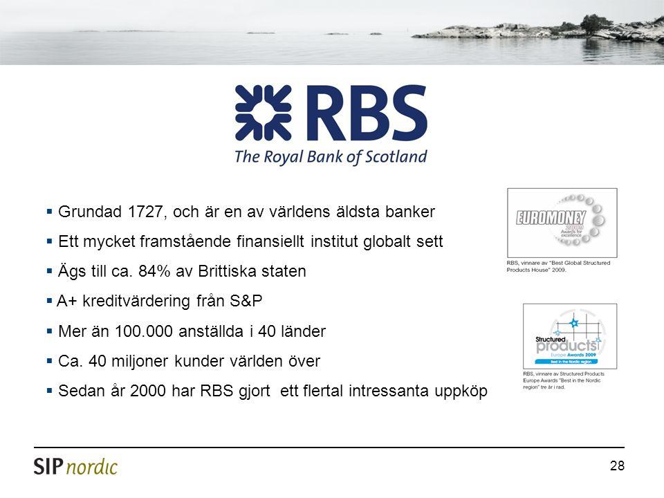 28  Grundad 1727, och är en av världens äldsta banker  Ett mycket framstående finansiellt institut globalt sett  Ägs till ca. 84% av Brittiska stat