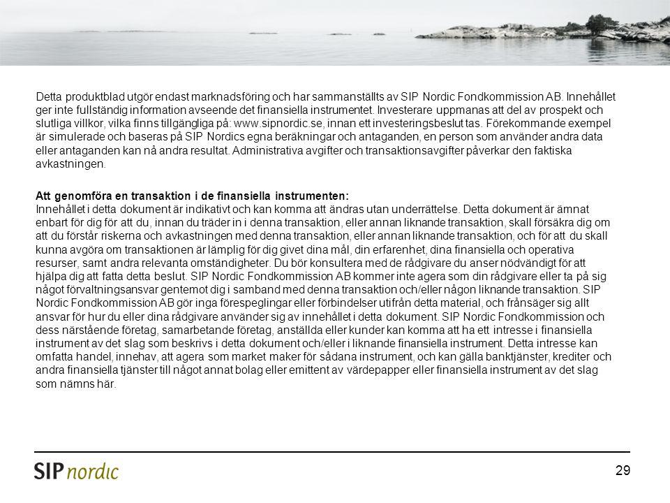 29 Detta produktblad utgör endast marknadsföring och har sammanställts av SIP Nordic Fondkommission AB. Innehållet ger inte fullständig information av
