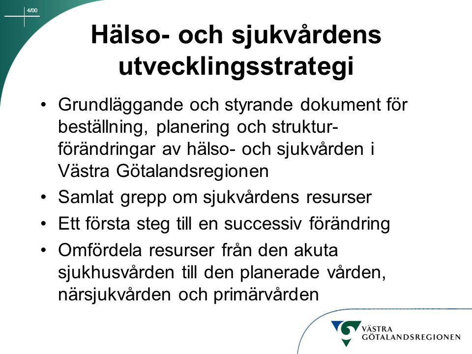 4/00 Hälso- och sjukvårdens utvecklingsstrategi Grundläggande och styrande dokument för beställning, planering och struktur- förändringar av hälso- oc