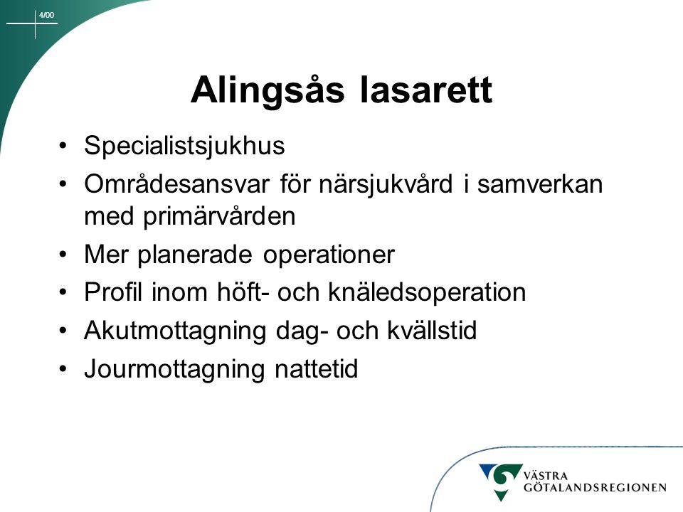 4/00 Alingsås lasarett Specialistsjukhus Områdesansvar för närsjukvård i samverkan med primärvården Mer planerade operationer Profil inom höft- och kn