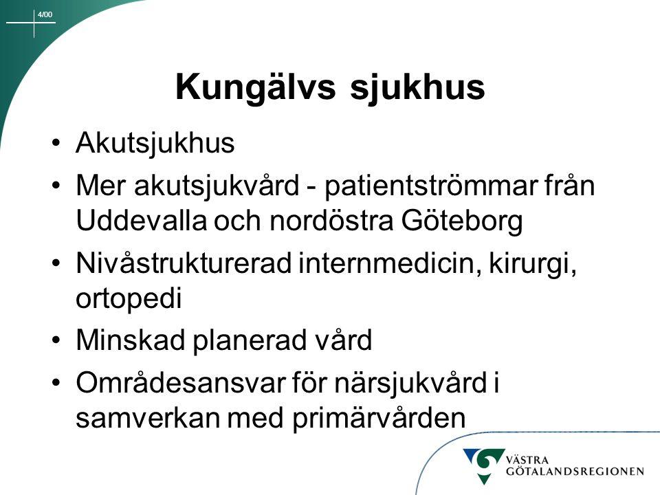4/00 Kungälvs sjukhus Akutsjukhus Mer akutsjukvård - patientströmmar från Uddevalla och nordöstra Göteborg Nivåstrukturerad internmedicin, kirurgi, or