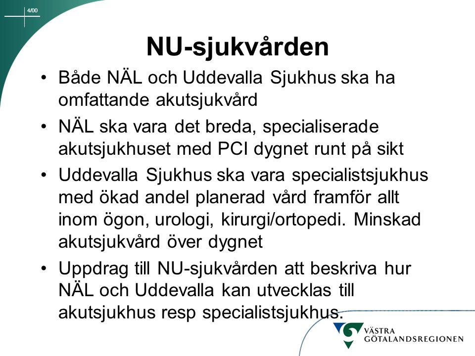 4/00 NU-sjukvården Både NÄL och Uddevalla Sjukhus ska ha omfattande akutsjukvård NÄL ska vara det breda, specialiserade akutsjukhuset med PCI dygnet r
