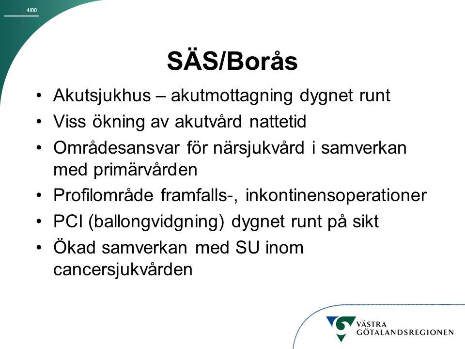 4/00 SÄS/Borås Akutsjukhus – akutmottagning dygnet runt Viss ökning av akutvård nattetid Områdesansvar för närsjukvård i samverkan med primärvården Pr