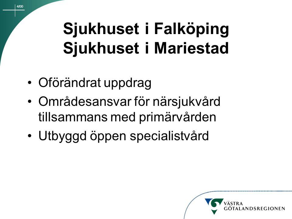 4/00 Sjukhuset i Falköping Sjukhuset i Mariestad Oförändrat uppdrag Områdesansvar för närsjukvård tillsammans med primärvården Utbyggd öppen specialis