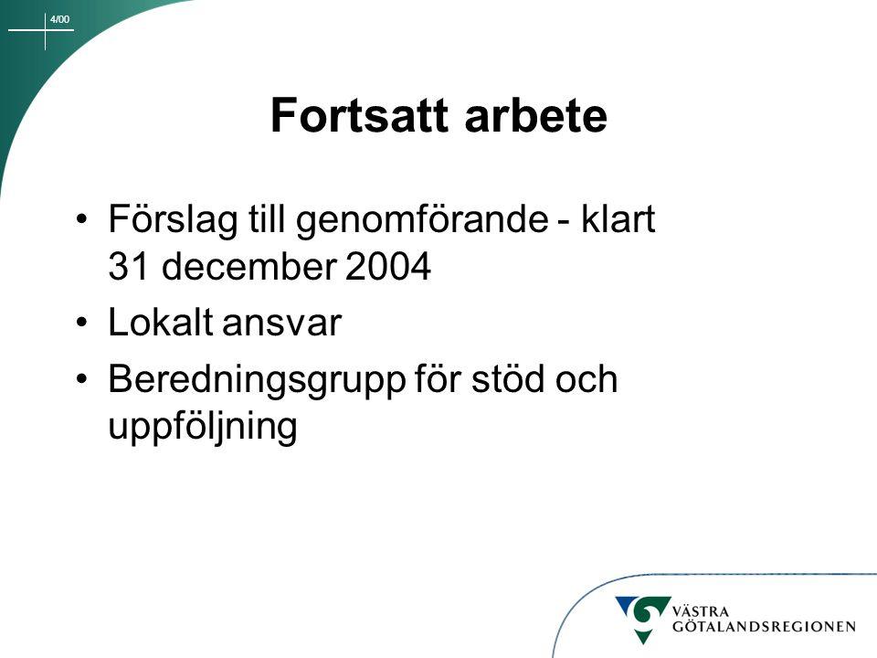 4/00 Fortsatt arbete Förslag till genomförande - klart 31 december 2004 Lokalt ansvar Beredningsgrupp för stöd och uppföljning