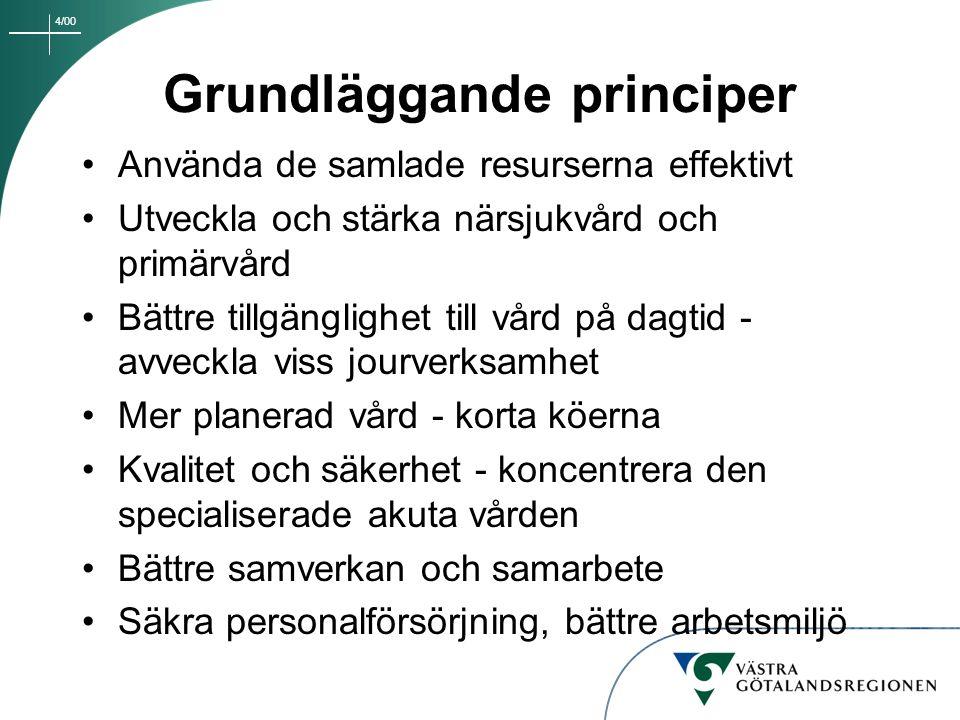 4/00 Grundläggande principer Använda de samlade resurserna effektivt Utveckla och stärka närsjukvård och primärvård Bättre tillgänglighet till vård på