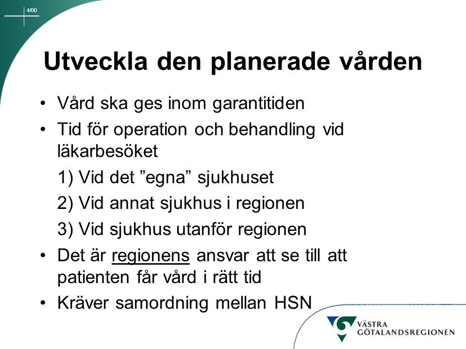 """4/00 Utveckla den planerade vården Vård ska ges inom garantitiden Tid för operation och behandling vid läkarbesöket 1) Vid det """"egna"""" sjukhuset 2) Vid"""