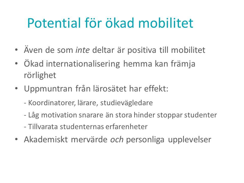 Potential för ökad mobilitet Även de som inte deltar är positiva till mobilitet Ökad internationalisering hemma kan främja rörlighet Uppmuntran från l