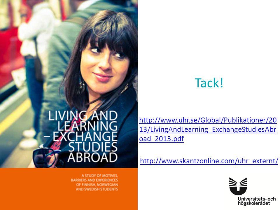 Tack! http://www.uhr.se/Global/Publikationer/20 13/LivingAndLearning_ExchangeStudiesAbr oad_2013.pdf http://www.skantzonline.com/uhr_externt/