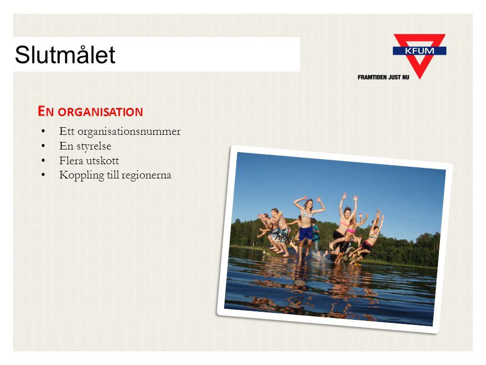 Slutmålet E N ORGANISATION Ett organisationsnummer En styrelse Flera utskott Koppling till regionerna