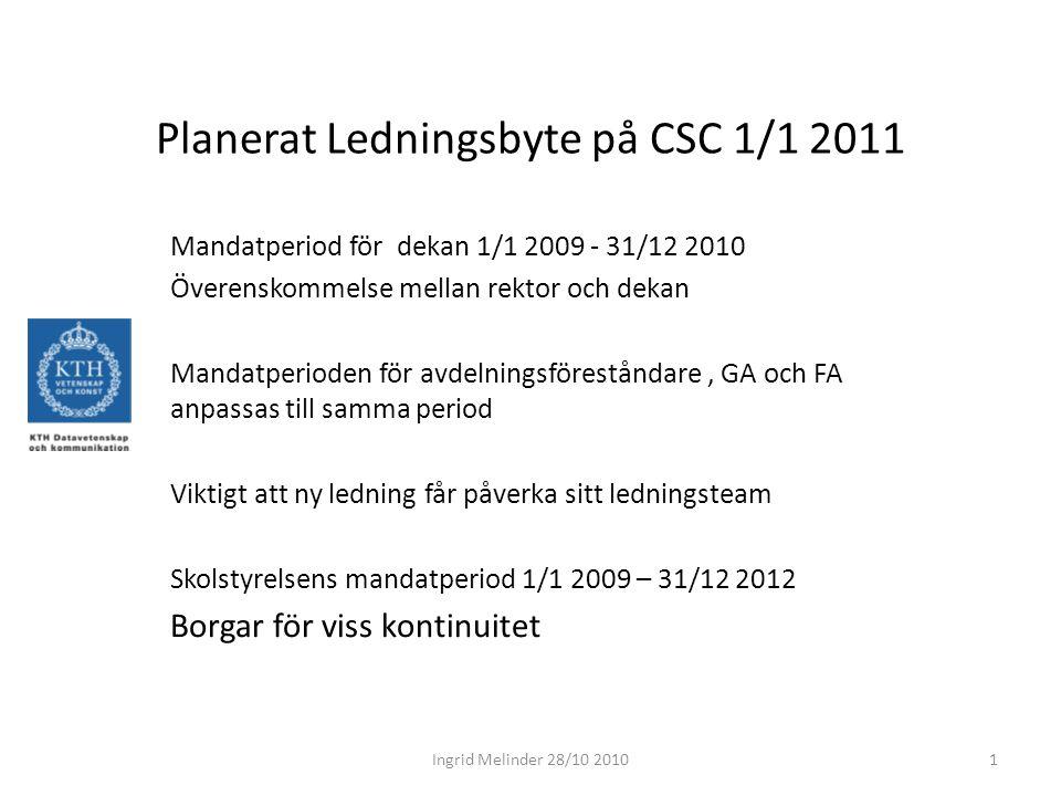 Planerat Ledningsbyte på CSC 1/1 2011 Mandatperiod för dekan 1/1 2009 - 31/12 2010 Överenskommelse mellan rektor och dekan Mandatperioden för avdelnin
