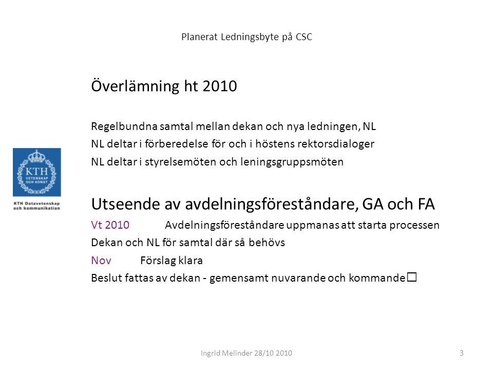 Planerat Ledningsbyte på CSC Överlämning ht 2010 Regelbundna samtal mellan dekan och nya ledningen, NL NL deltar i förberedelse för och i höstens rektorsdialoger NL deltar i styrelsemöten och leningsgruppsmöten Utseende av avdelningsföreståndare, GA och FA Vt 2010 Avdelningsföreståndare uppmanas att starta processen Dekan och NL för samtal där så behövs Nov Förslag klara Beslut fattas av dekan - gemensamt nuvarande och kommande 3Ingrid Melinder 28/10 2010