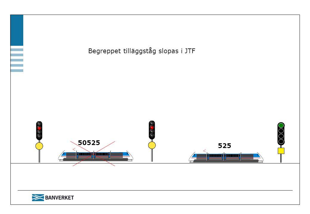 525 50525 Begreppet tilläggståg slopas i JTF