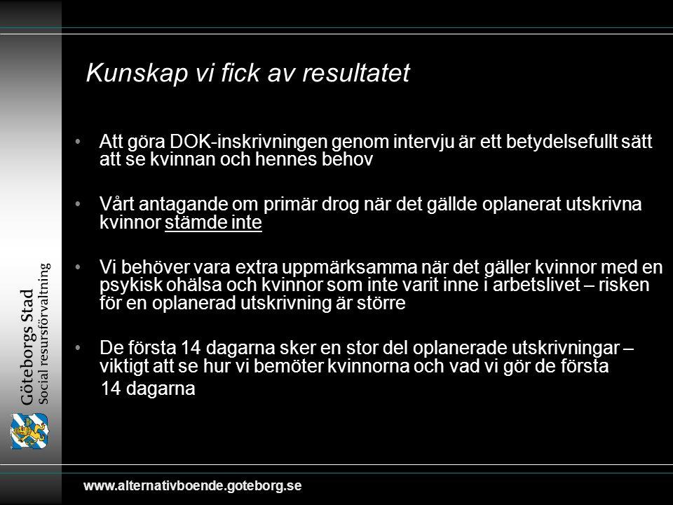 www.alternativboende.goteborg.se Kunskap vi fick av resultatet Att göra DOK-inskrivningen genom intervju är ett betydelsefullt sätt att se kvinnan och