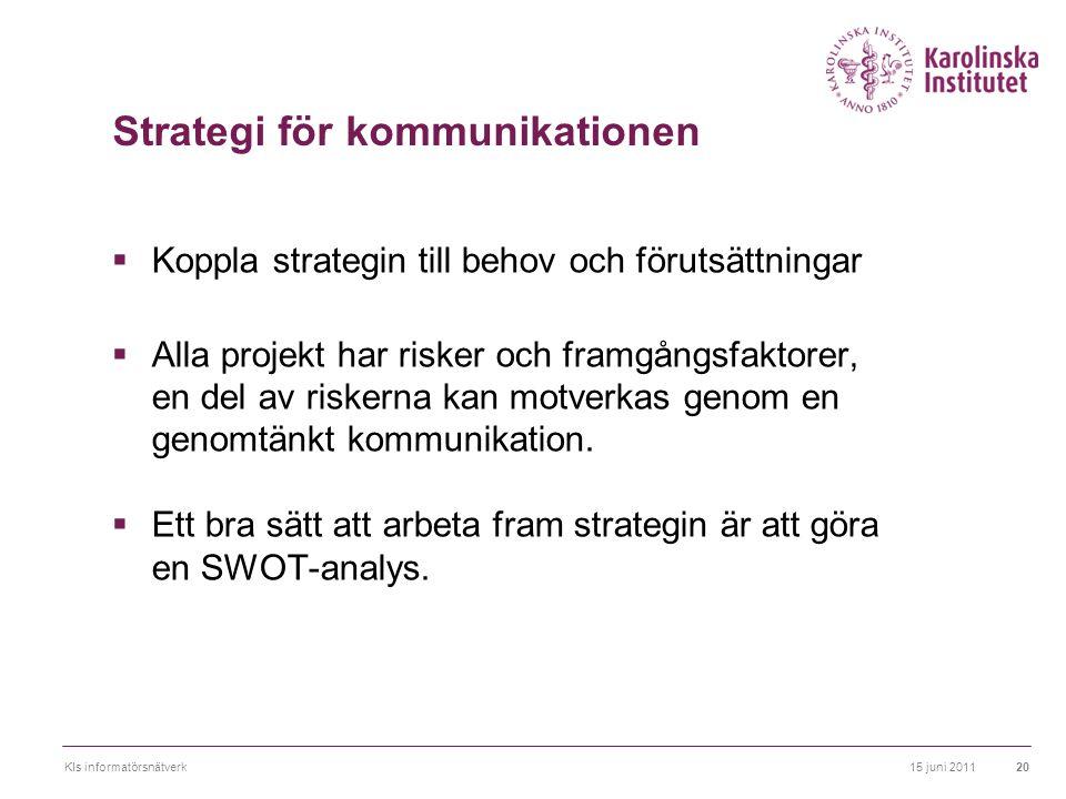 15 juni 2011KIs informatörsnätverk20 Strategi för kommunikationen  Koppla strategin till behov och förutsättningar  Alla projekt har risker och fram