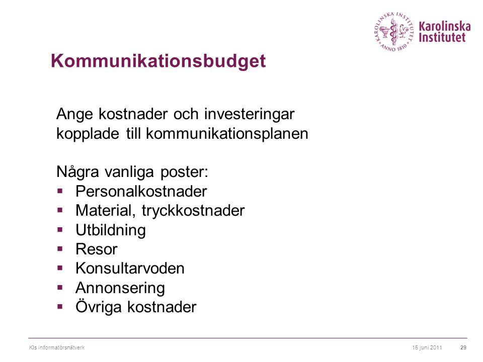 15 juni 2011KIs informatörsnätverk29 Kommunikationsbudget Ange kostnader och investeringar kopplade till kommunikationsplanen Några vanliga poster: 