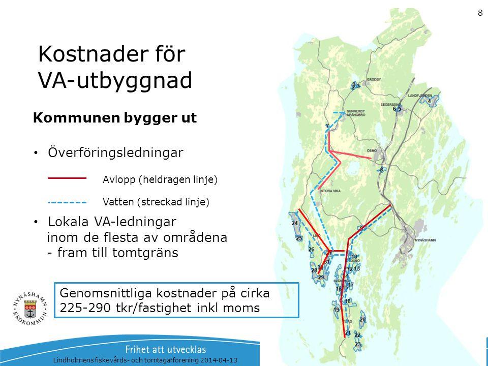 Kostnader för VA-utbyggnad Överföringsledningar Lokala VA-ledningar inom de flesta av områdena - fram till tomtgräns Lindholmens fiskevårds- och tomtä