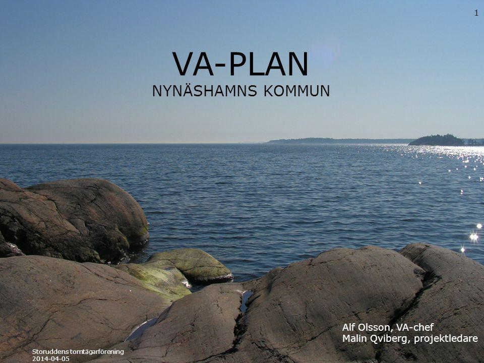 VA-PLAN NYNÄSHAMNS KOMMUN 1 Storuddens tomtägarförening 2014-04-05 Alf Olsson, VA-chef Malin Qviberg, projektledare