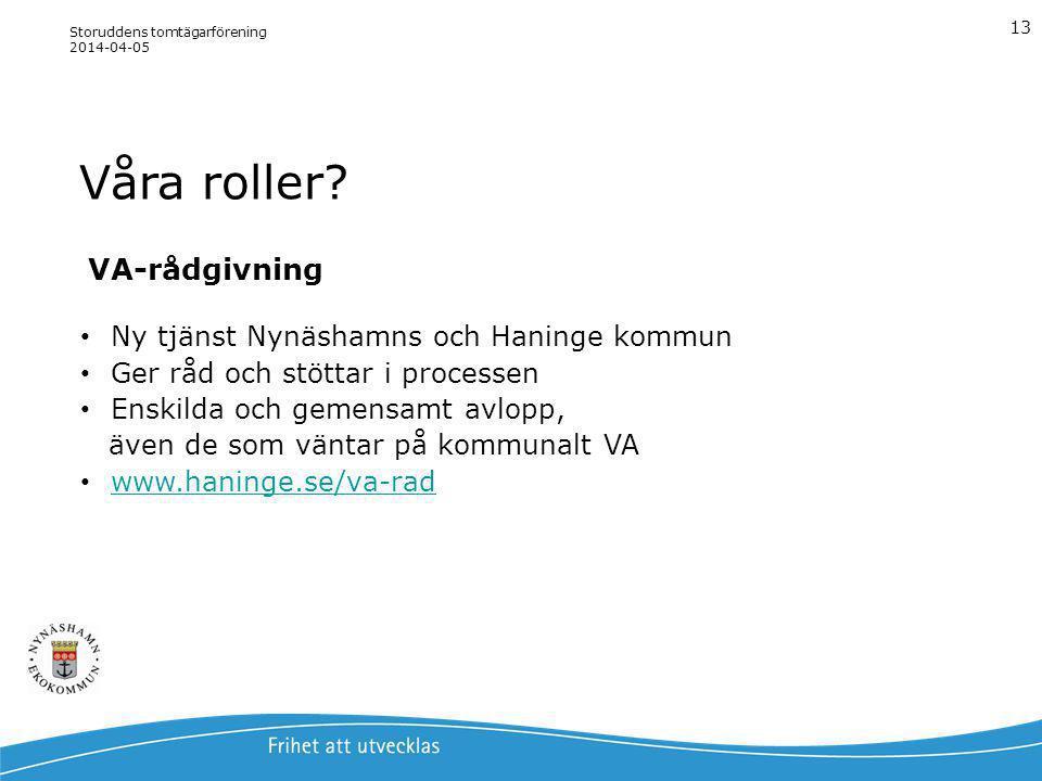 Våra roller? Storuddens tomtägarförening 2014-04-05 13 VA-rådgivning Ny tjänst Nynäshamns och Haninge kommun Ger råd och stöttar i processen Enskilda