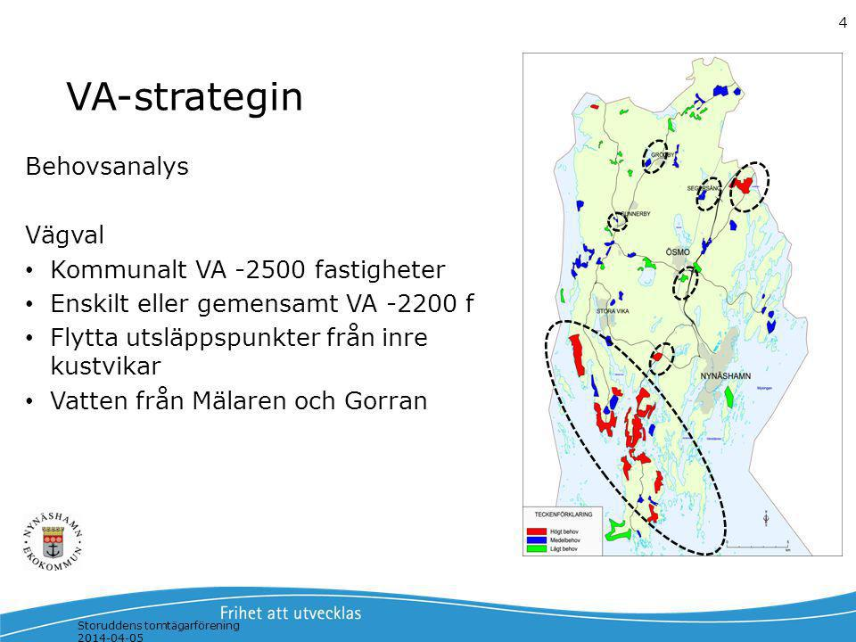 Storuddens tomtägarförening 2014-04-05 4 VA-strategin Behovsanalys Vägval Kommunalt VA -2500 fastigheter Enskilt eller gemensamt VA -2200 f Flytta uts