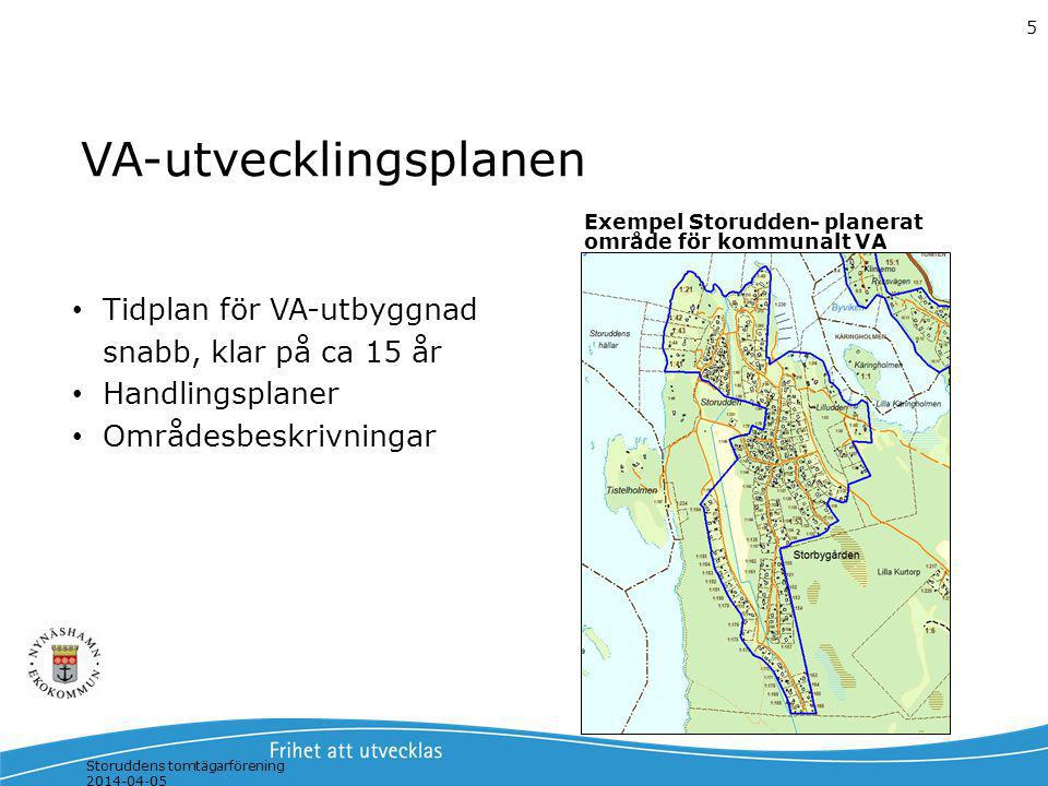 Storuddens tomtägarförening 2014-04-05 5 VA-utvecklingsplanen Exempel Storudden- planerat område för kommunalt VA Tidplan för VA-utbyggnad snabb, klar
