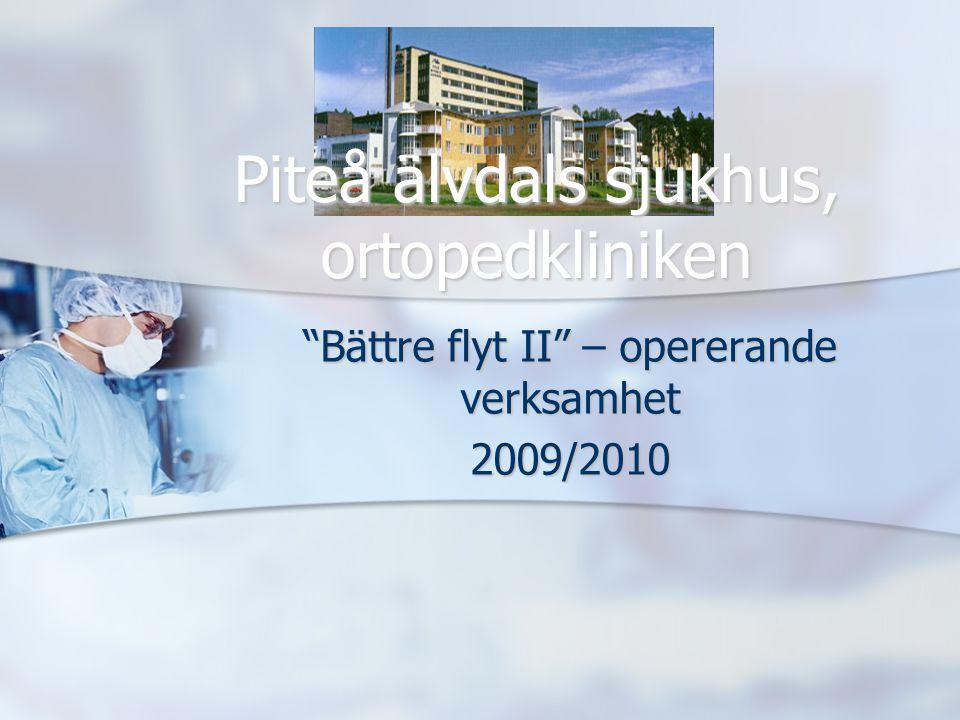 """""""Bättre flyt II"""" – opererande verksamhet 2009/2010 Piteå älvdals sjukhus, ortopedkliniken"""