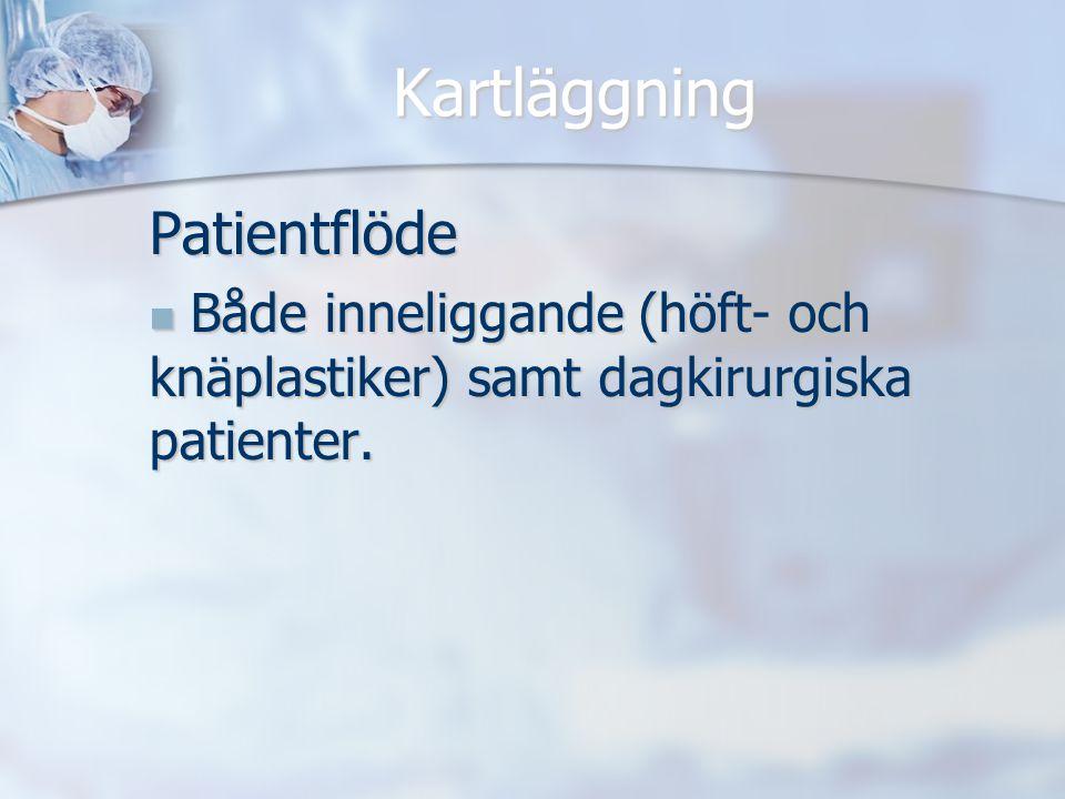Kartläggning Patientflöde Både inneliggande (höft- och knäplastiker) samt dagkirurgiska patienter. Både inneliggande (höft- och knäplastiker) samt dag
