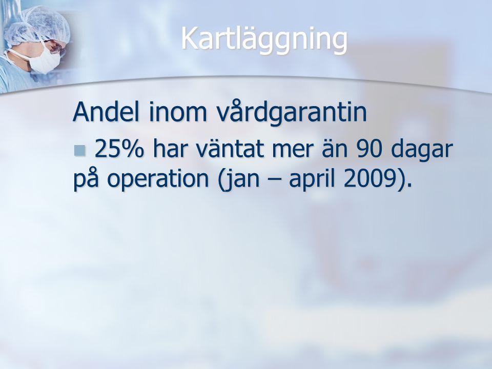 Kartläggning Andel inom vårdgarantin 25% har väntat mer än 90 dagar på operation (jan – april 2009). 25% har väntat mer än 90 dagar på operation (jan