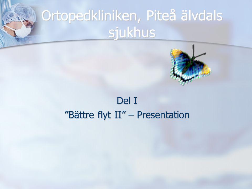 """Ortopedkliniken, Piteå älvdals sjukhus Del I """"Bättre flyt II"""" – Presentation"""