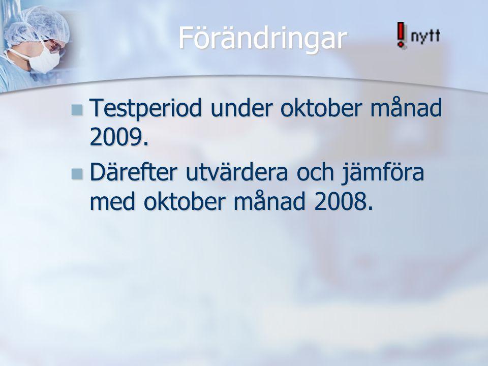 Förändringar Testperiod under oktober månad 2009. Testperiod under oktober månad 2009. Därefter utvärdera och jämföra med oktober månad 2008. Därefter