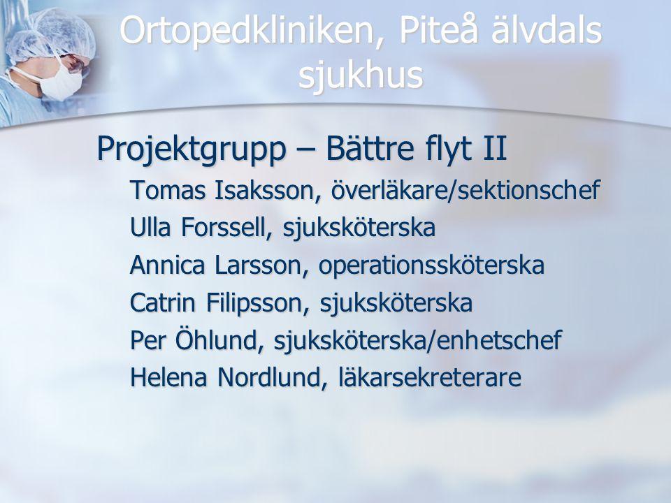 Ortopedkliniken, Piteå älvdals sjukhus Projektgrupp – Bättre flyt II Tomas Isaksson, överläkare/sektionschef Ulla Forssell, sjuksköterska Annica Larss