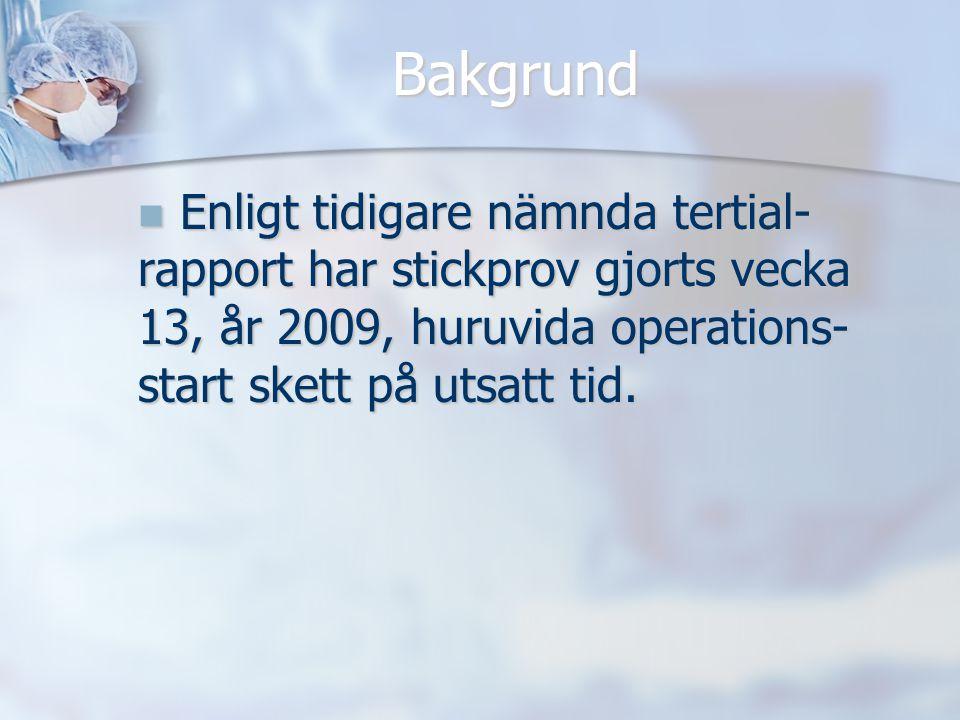 Bakgrund Enligt tidigare nämnda tertial- rapport har stickprov gjorts vecka 13, år 2009, huruvida operations- start skett på utsatt tid. Enligt tidiga