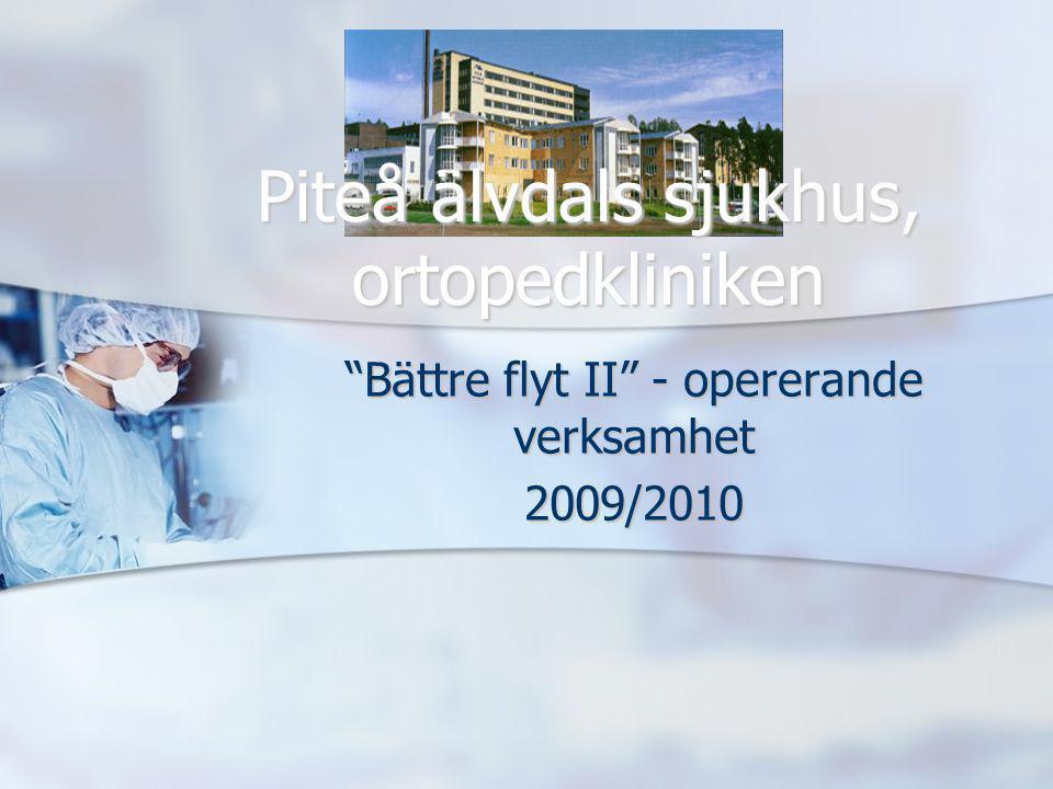 """""""Bättre flyt II"""" - opererande verksamhet 2009/2010 Piteå älvdals sjukhus, ortopedkliniken"""