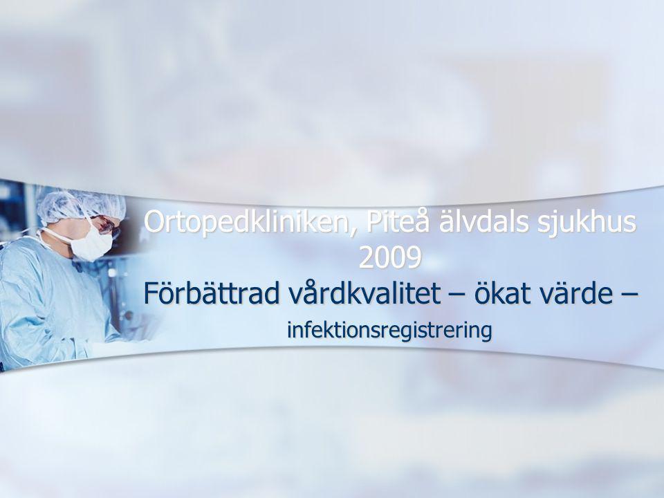 Ortopedkliniken, Piteå älvdals sjukhus 2009 Förbättrad vårdkvalitet – ökat värde – infektionsregistrering