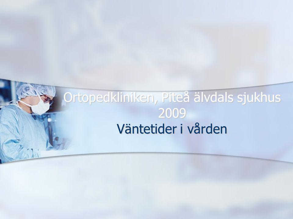 Ortopedkliniken, Piteå älvdals sjukhus 2009 Väntetider i vården