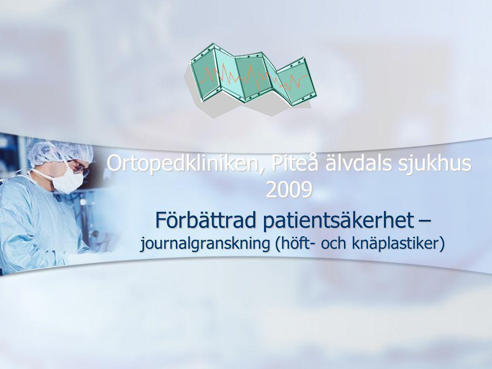 Ortopedkliniken, Piteå älvdals sjukhus 2009 Förbättrad patientsäkerhet – journalgranskning (höft- och knäplastiker)