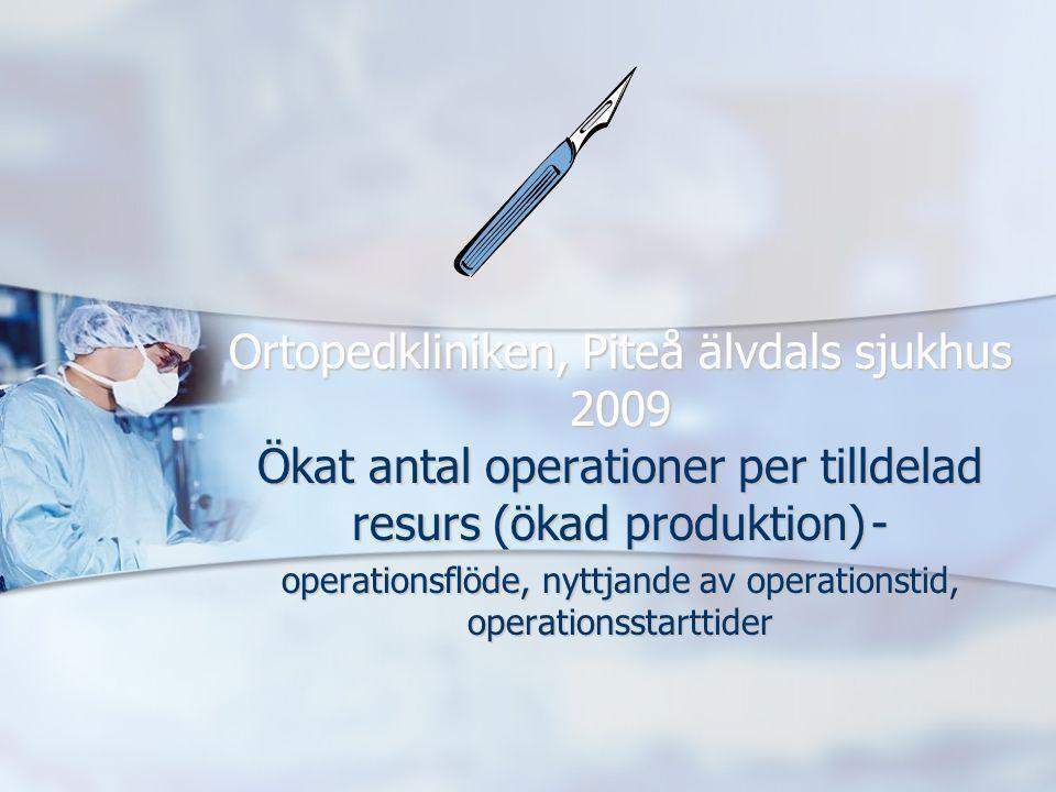 Ortopedkliniken, Piteå älvdals sjukhus 2009 Ökat antal operationer per tilldelad resurs (ökad produktion) - operationsflöde, nyttjande av operationsti
